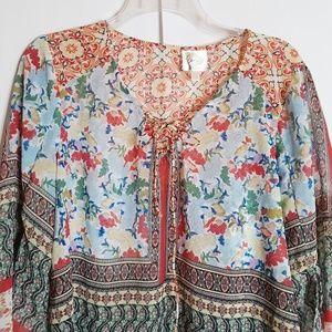 Fig & Flower Tops - Fig & Flower Sheer Boho Tunic Multi Sz M